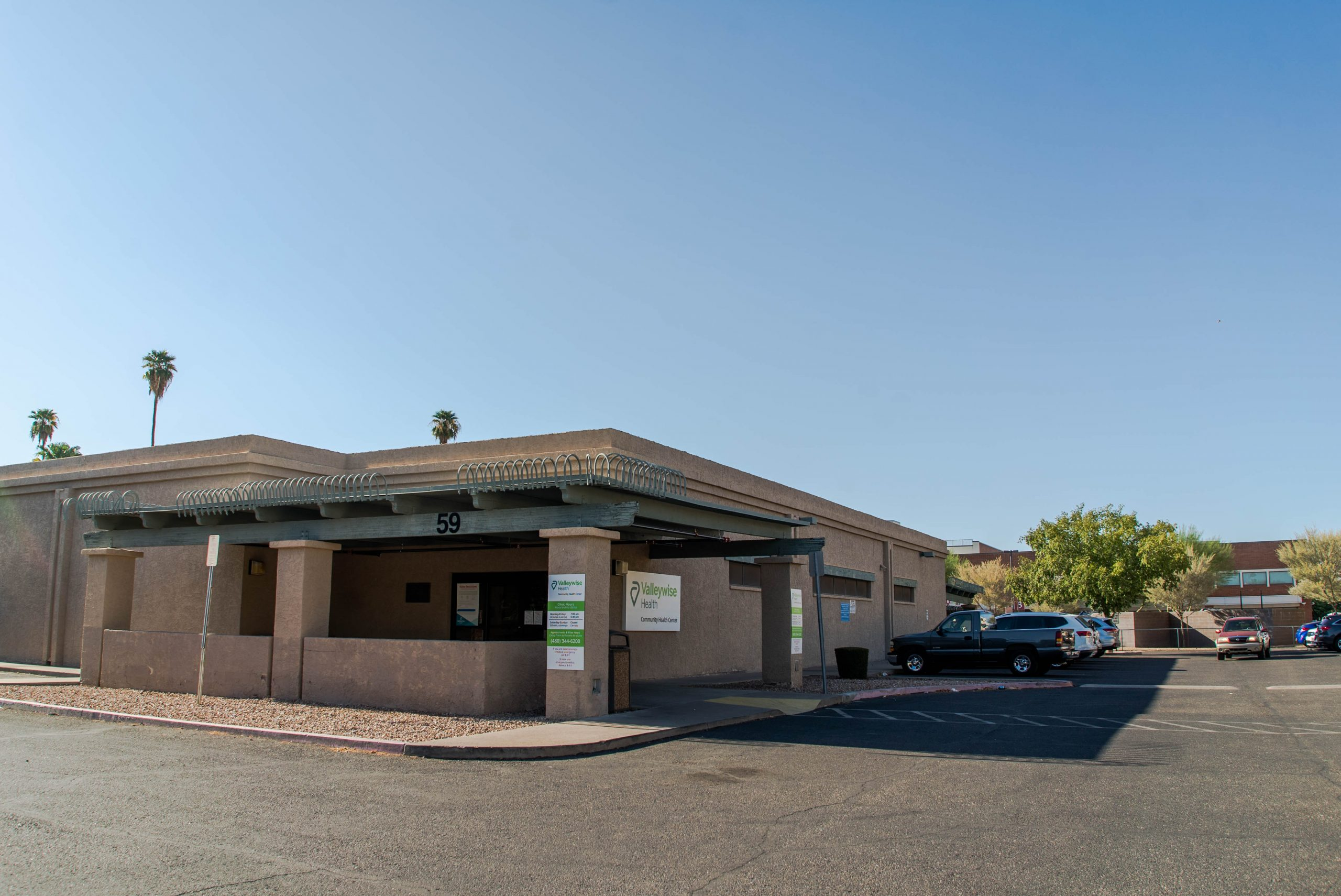 Valleywise Community Health view of the parking lot in Mesa