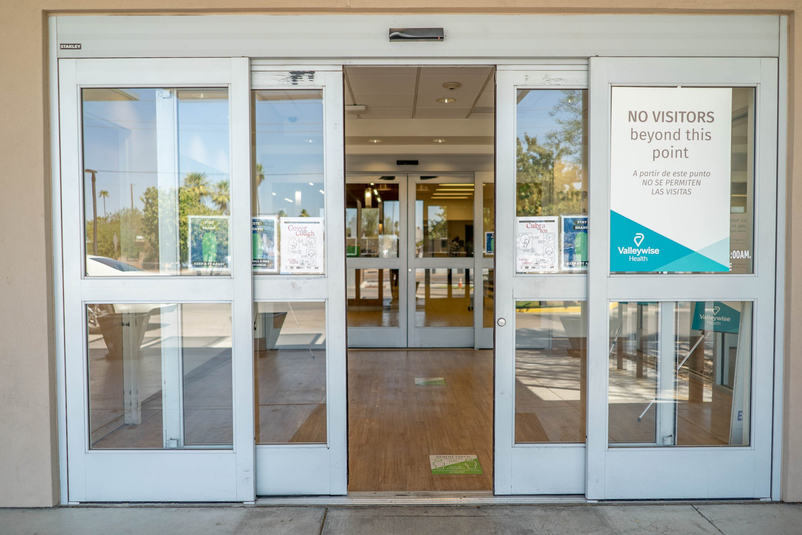 Valleywise Health Center front entrance automatic doors