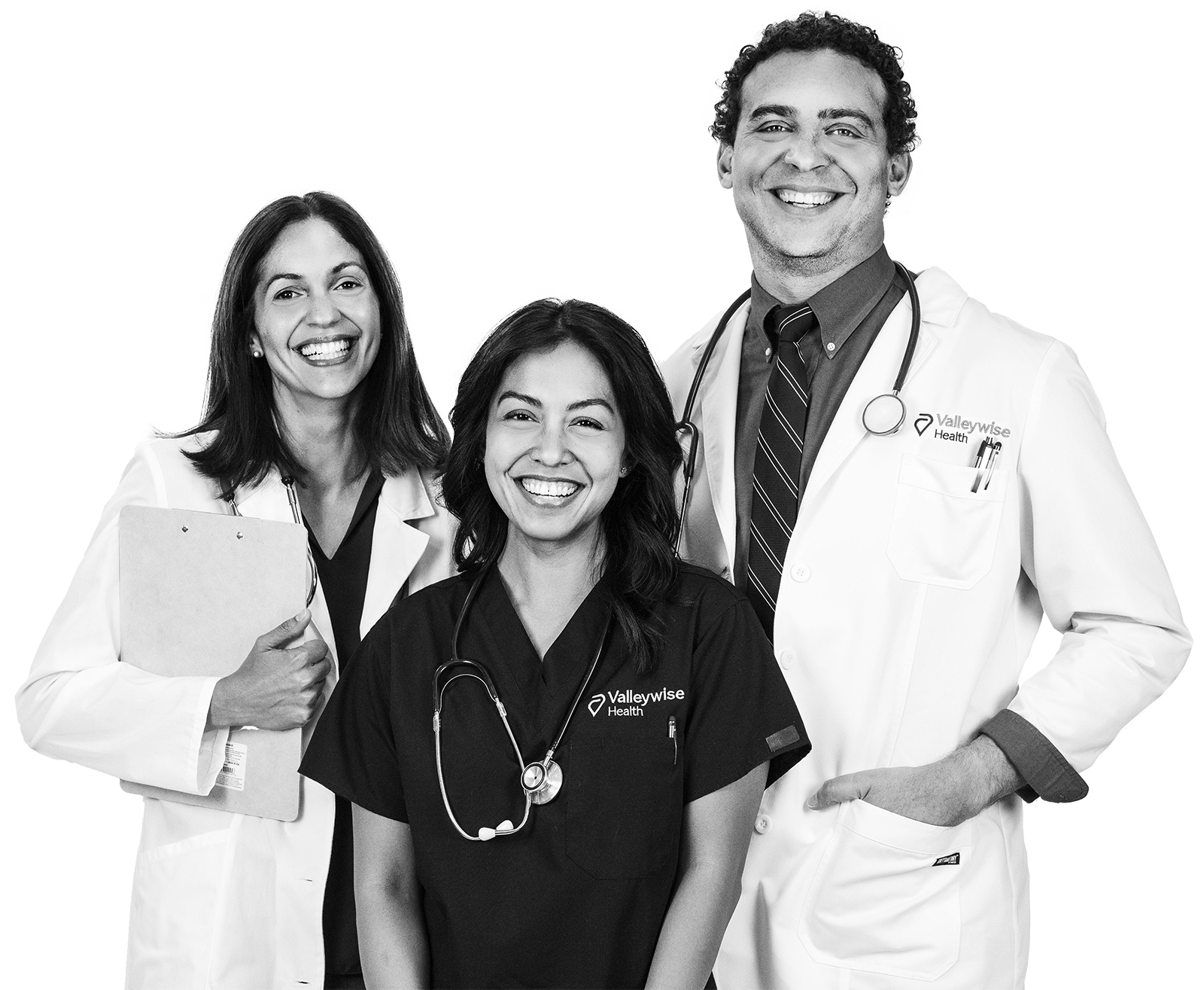 Two physicians smile with a female nurse